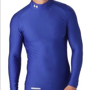 Under Armour Cold Gear Mock Neck Royal Blue Shirt